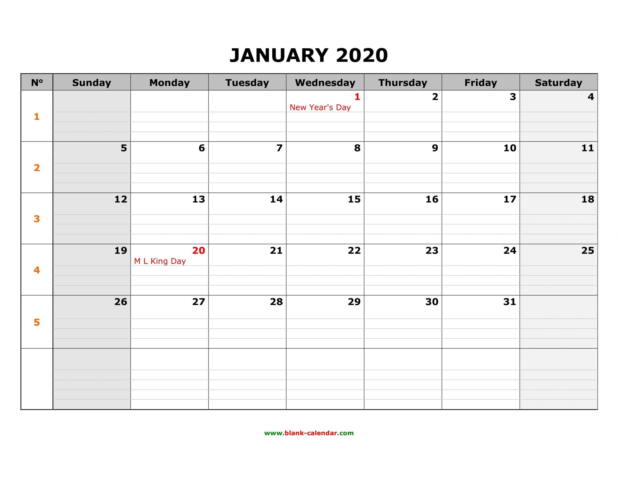 Free Download Printable Calendar 2020, Large Box Grid, Space