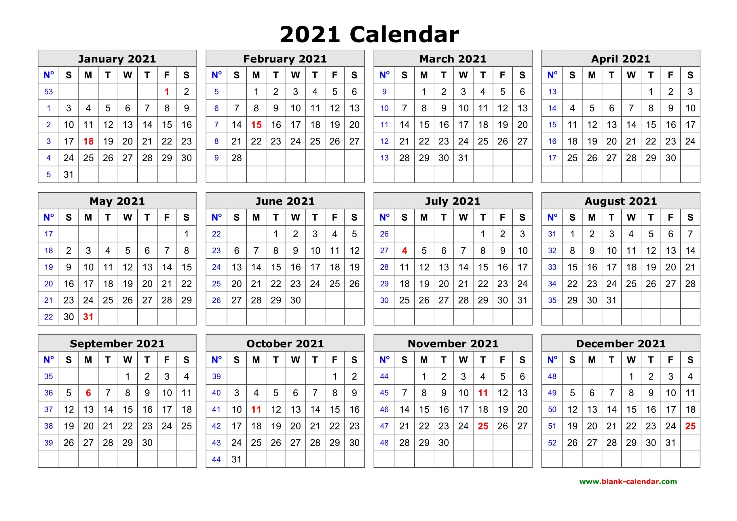 Free Download Printable Calendar 2021 In One Page, Clean Design