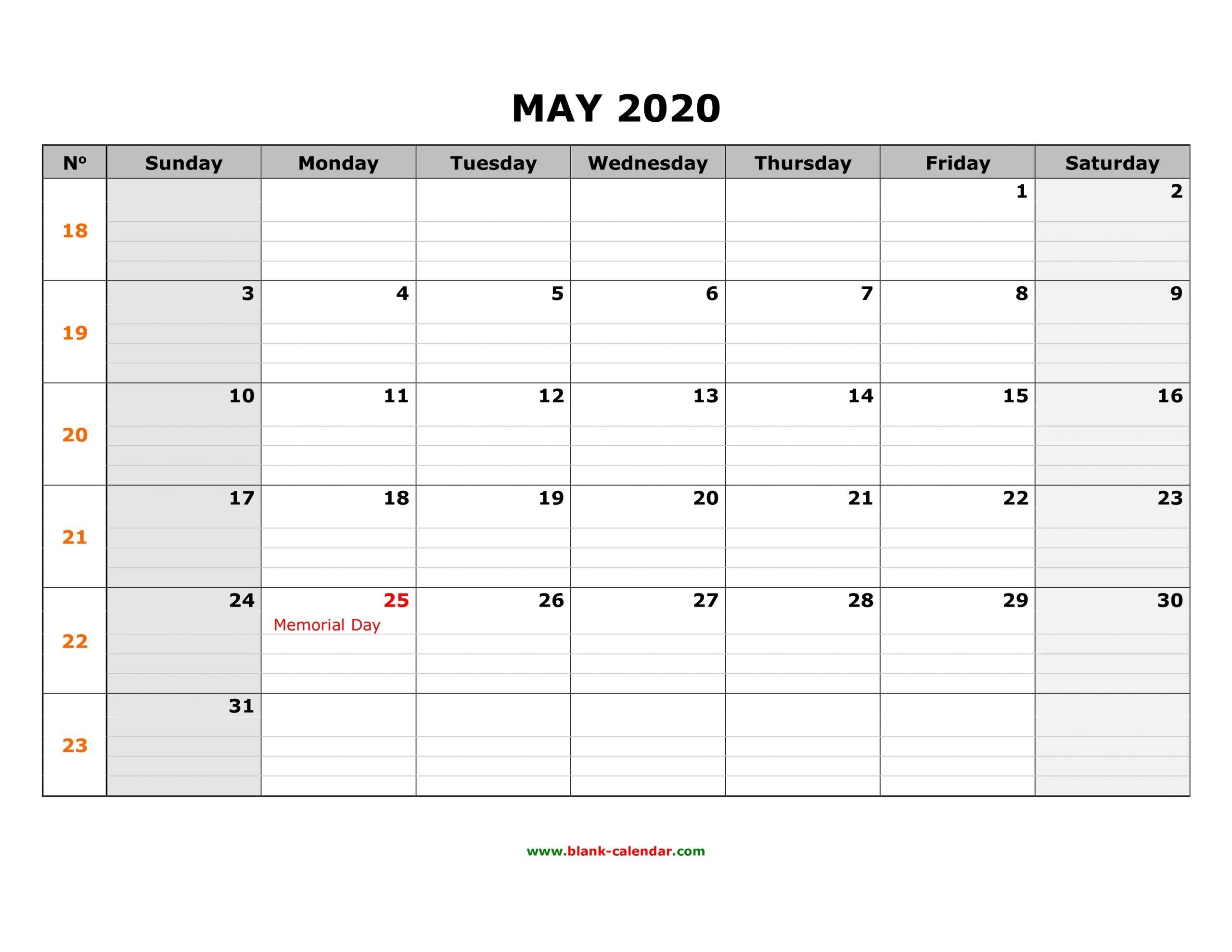Free Download Printable May 2020 Calendar, Large Box Grid
