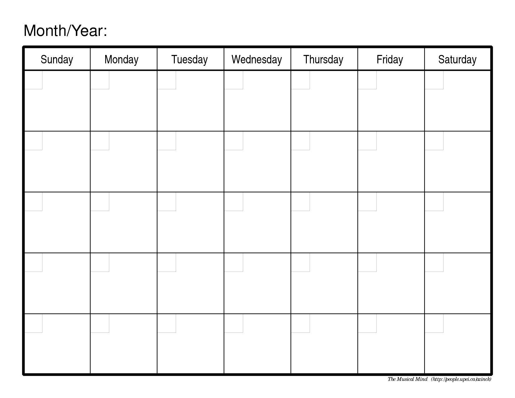 Free Fill In Blank Calendar Templates In 2020 | Blank