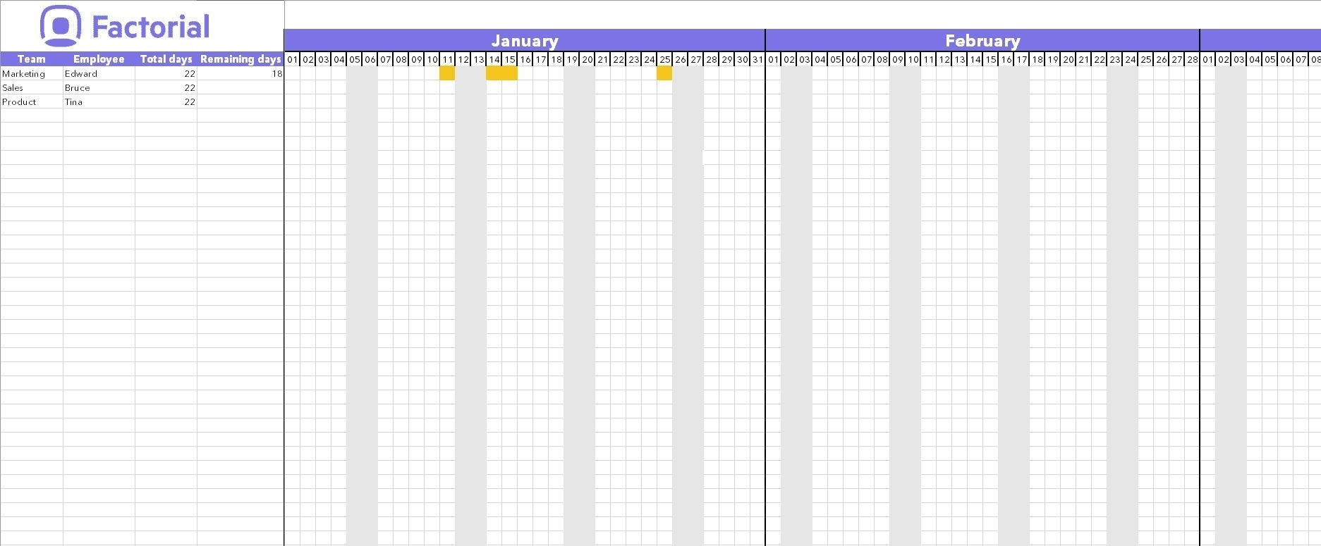 Free Free Template For Employee Time Off Calendar In 2020