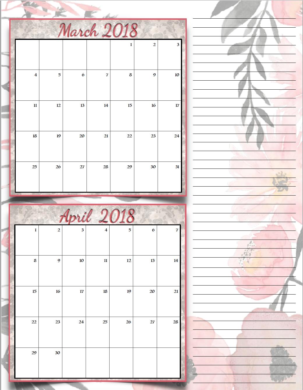 Free Printable 2018 Bimonthly Calendars: 6 Designs
