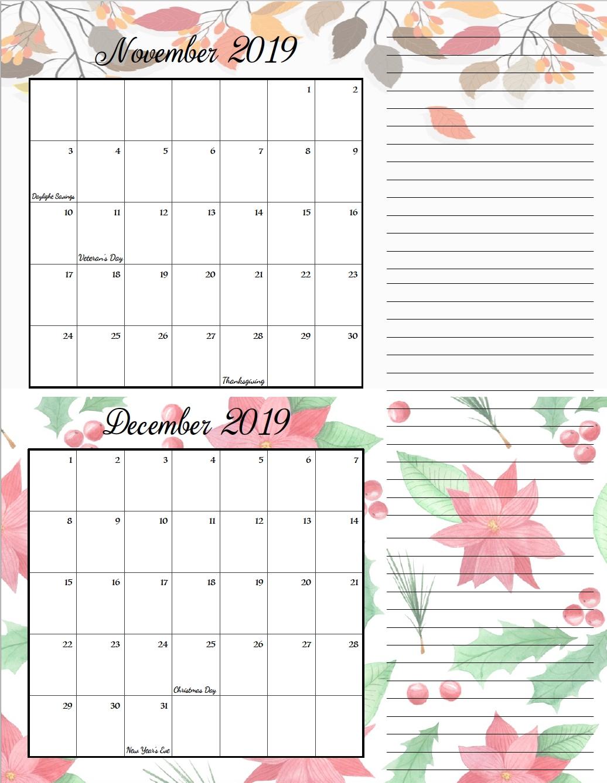Free Printable 2019 Bimonthly Calendars: 2 Designs | Holiday