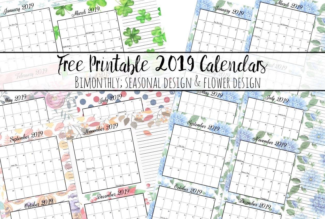 Free Printable 2019 Bimonthly Calendars: 2 Designs