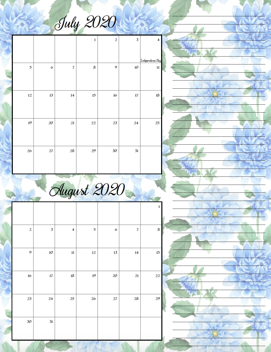 Free Printable 2020 Bimonthly Calendars With Holidays: 2