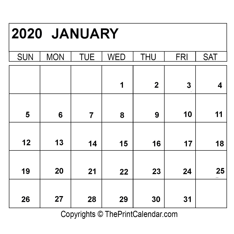 Free Printable 2020 Calendar | Calendar Template, Printable