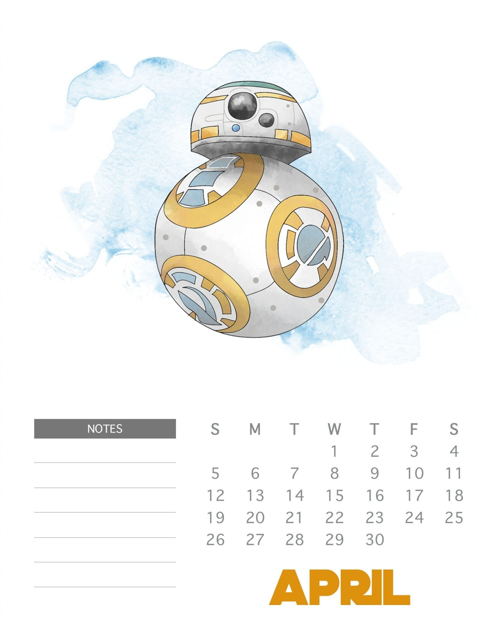 Free Printable 2020 Star Wars Calendar - The Cottage Market
