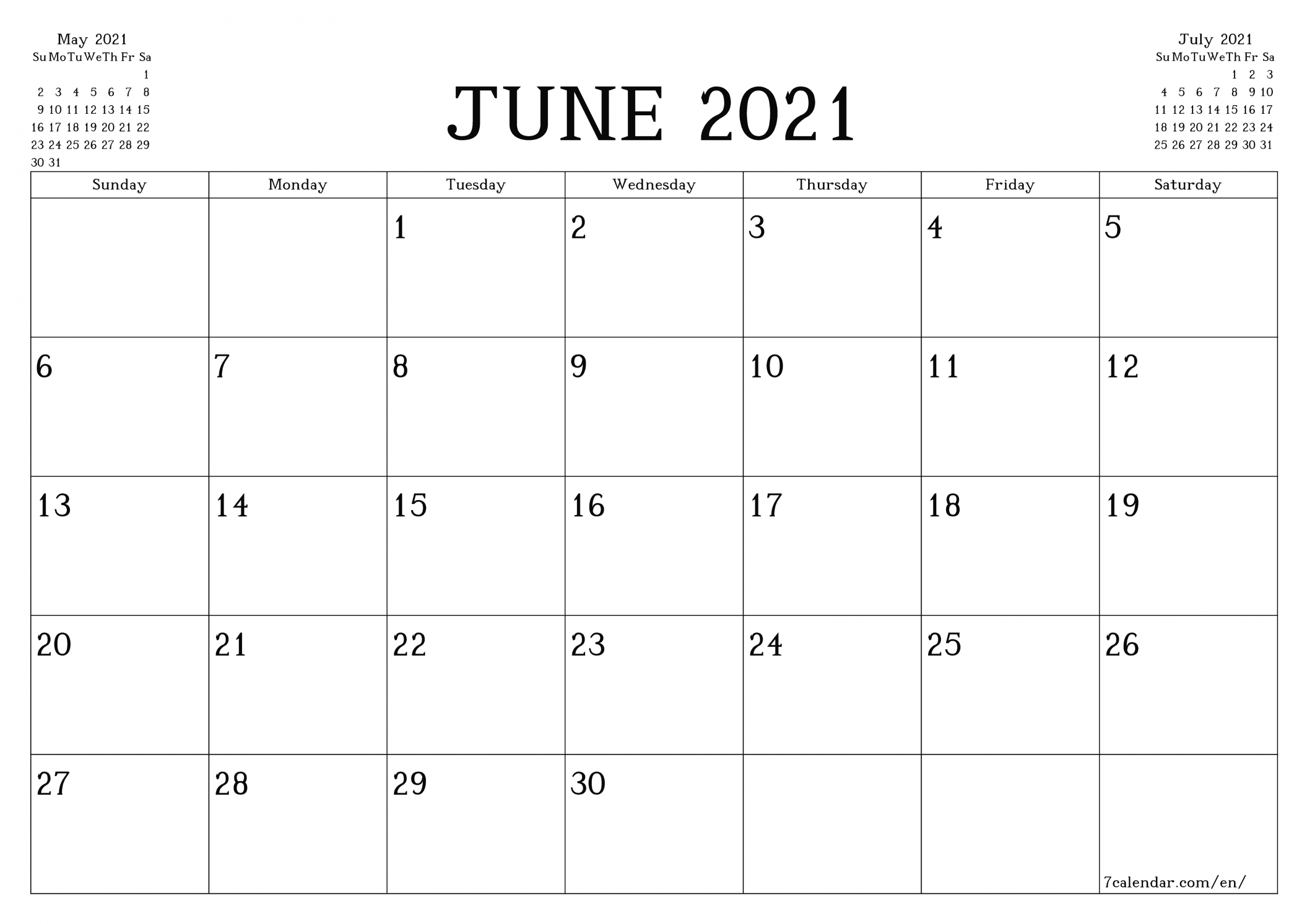 Free Printable Blank Monthly Calendar And Planner For June