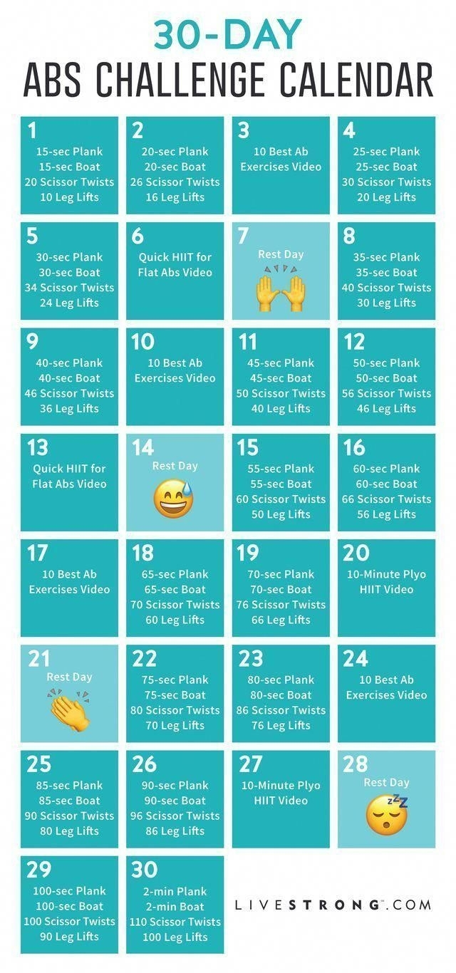 Free Printable Calendar For The 30-Day Abs Challenge #30Day