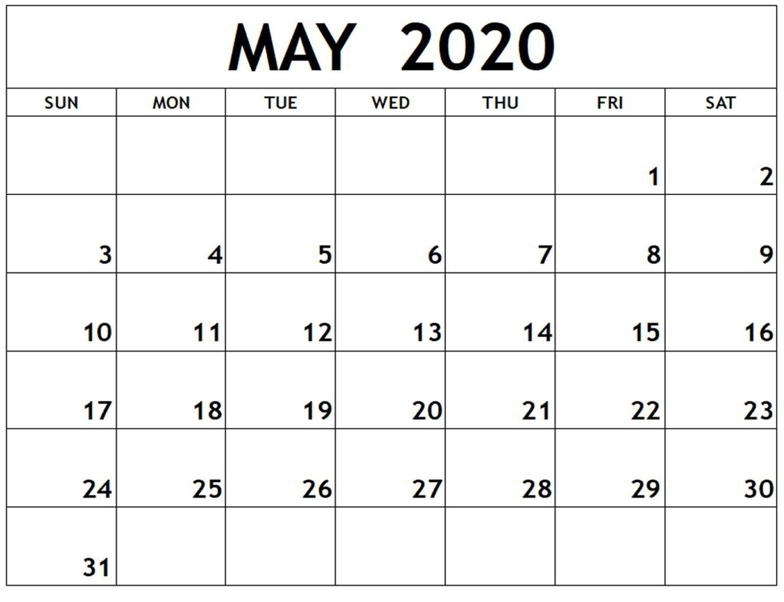 Free Printable Calendar May 2020 Download | Free Printable