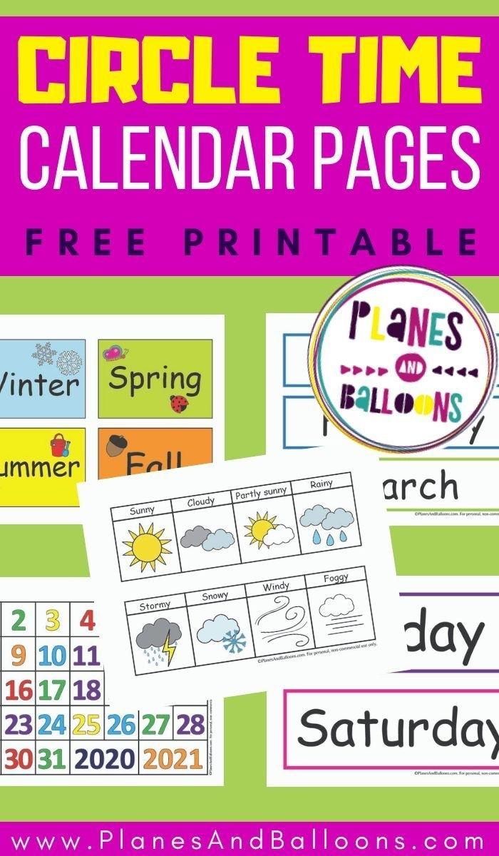 Free Printable Circle Time Calendar - Planes & Balloons