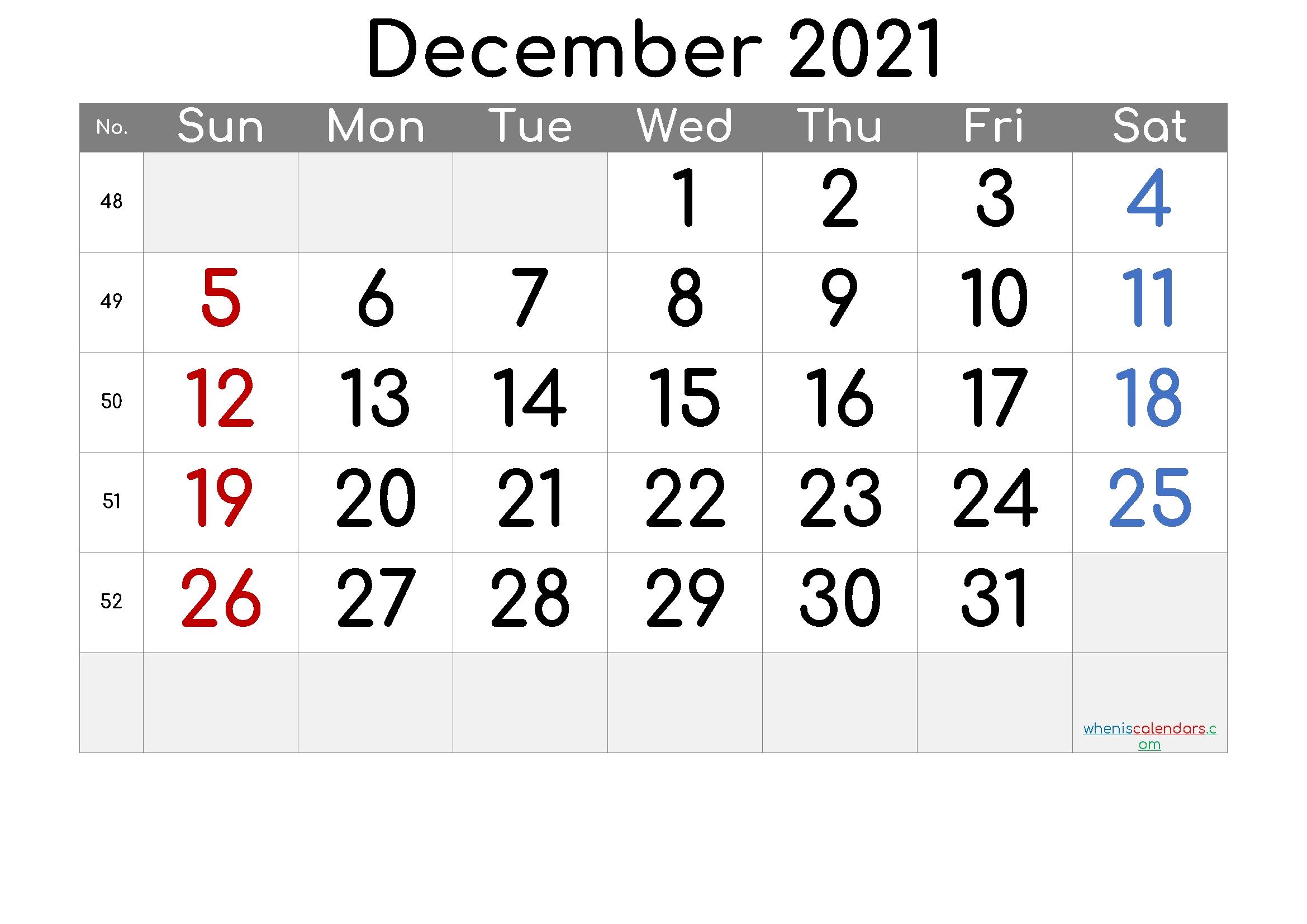 Free Printable December 2021 Calendar (Premium) In 2020