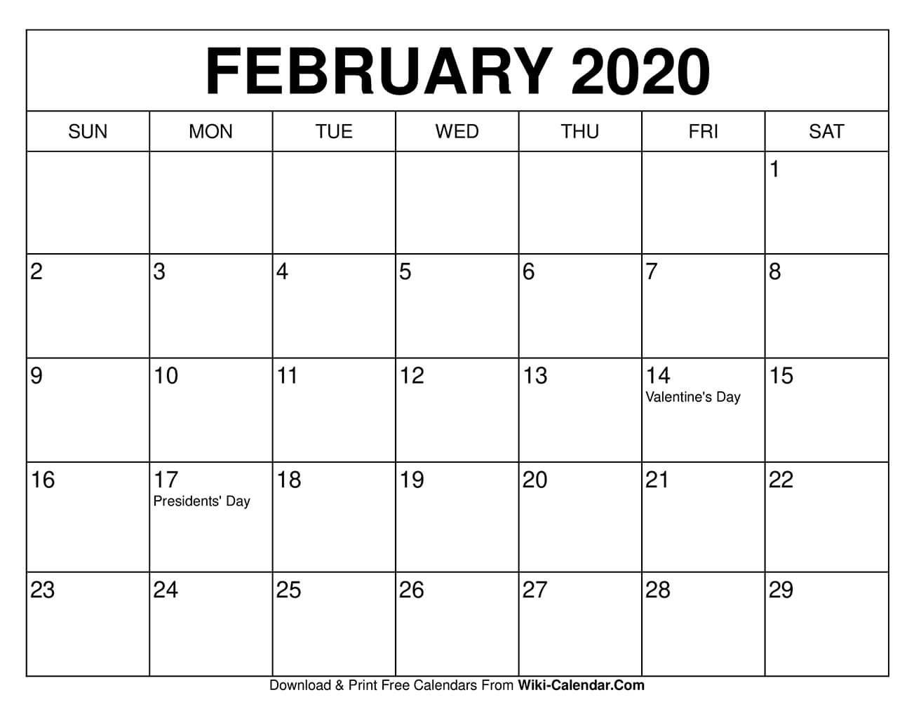 Free Printable February 2020 Calendar Templates These Free