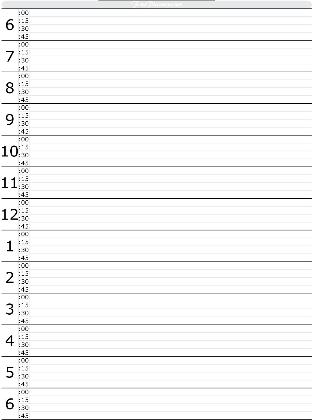 Free Printable Hourly Daily Planner | Day Planner Template