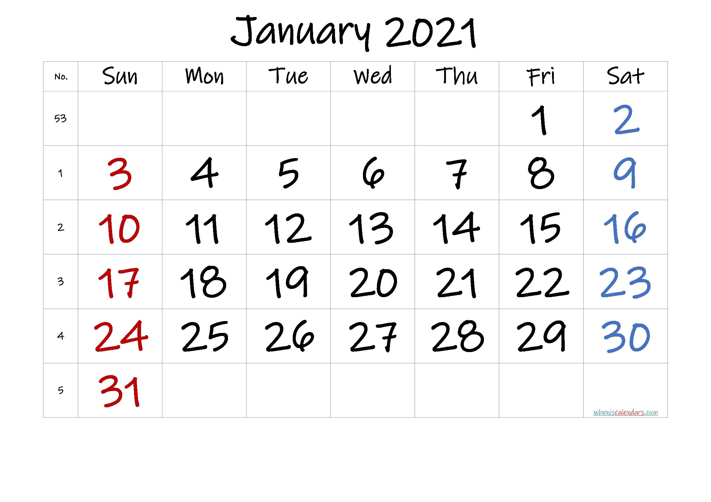 Free Printable January 2021 Calendar – Calendraex