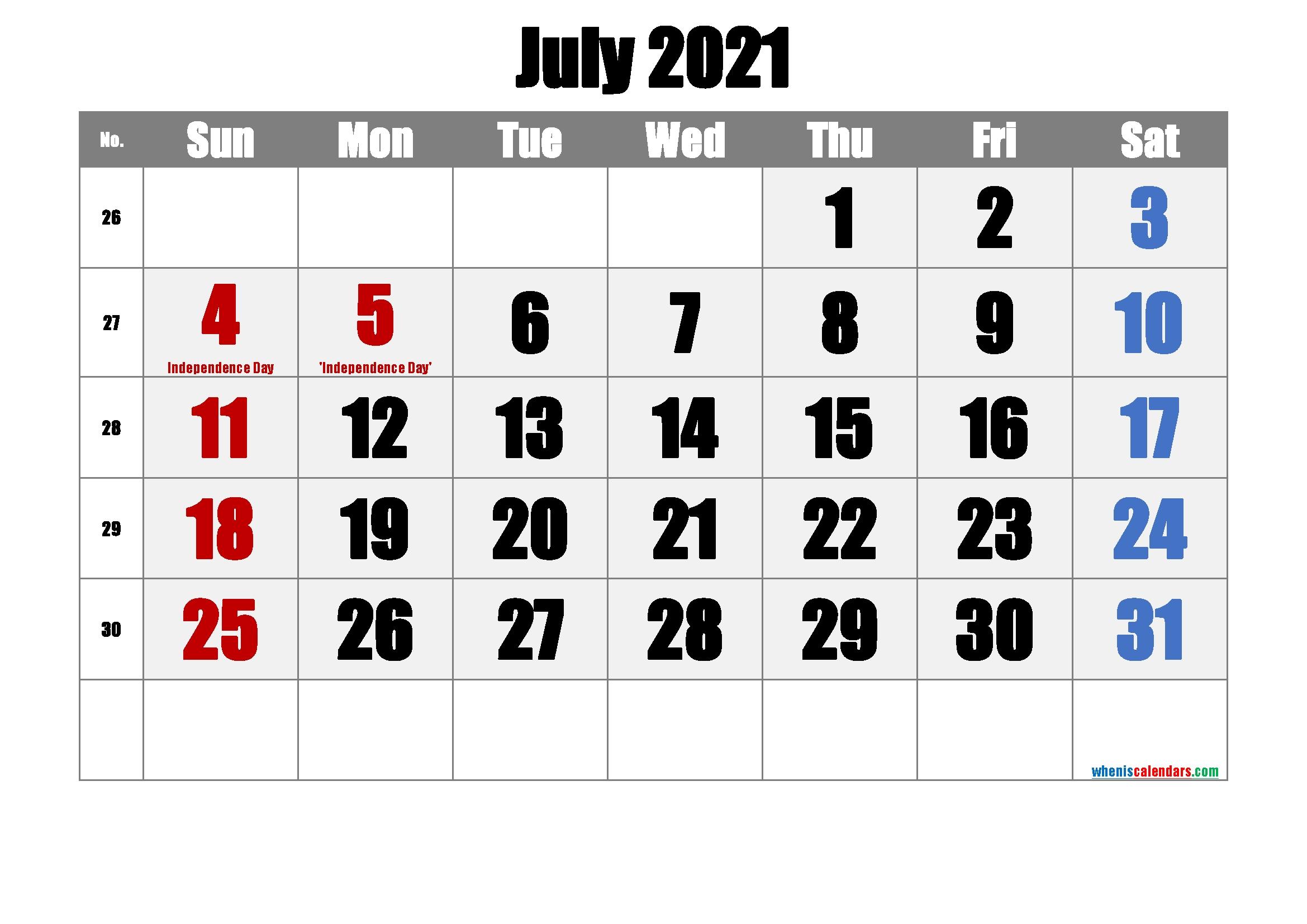 Free Printable July 2021 Calendar In 2020 | Printable