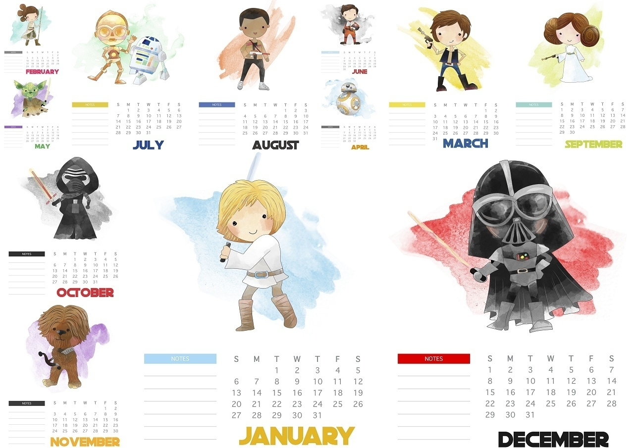 Free Printable Star Wars 2019 Calendar - Oh My Fiesta! For