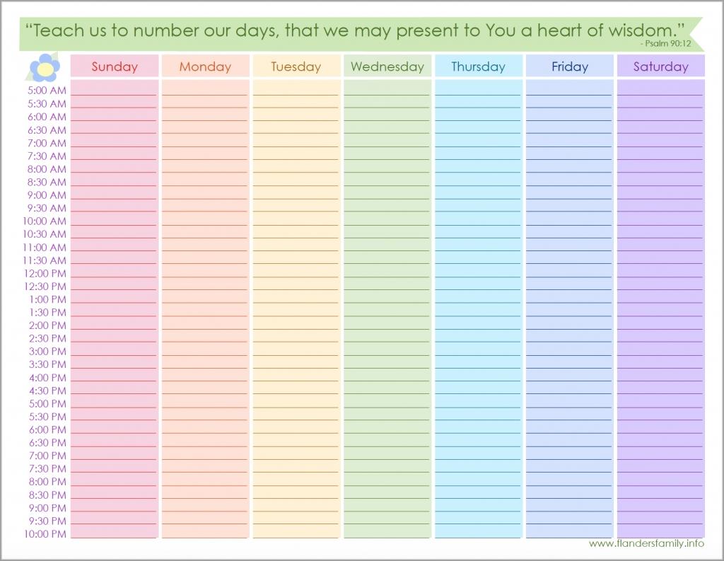 Free Printable Weekly Schedule - Flanders Family Homelife