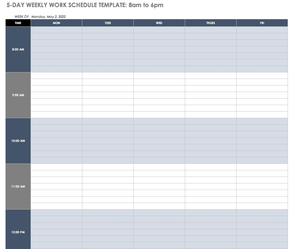 Free Work Schedule Templates For Word And Excel |Smartsheet