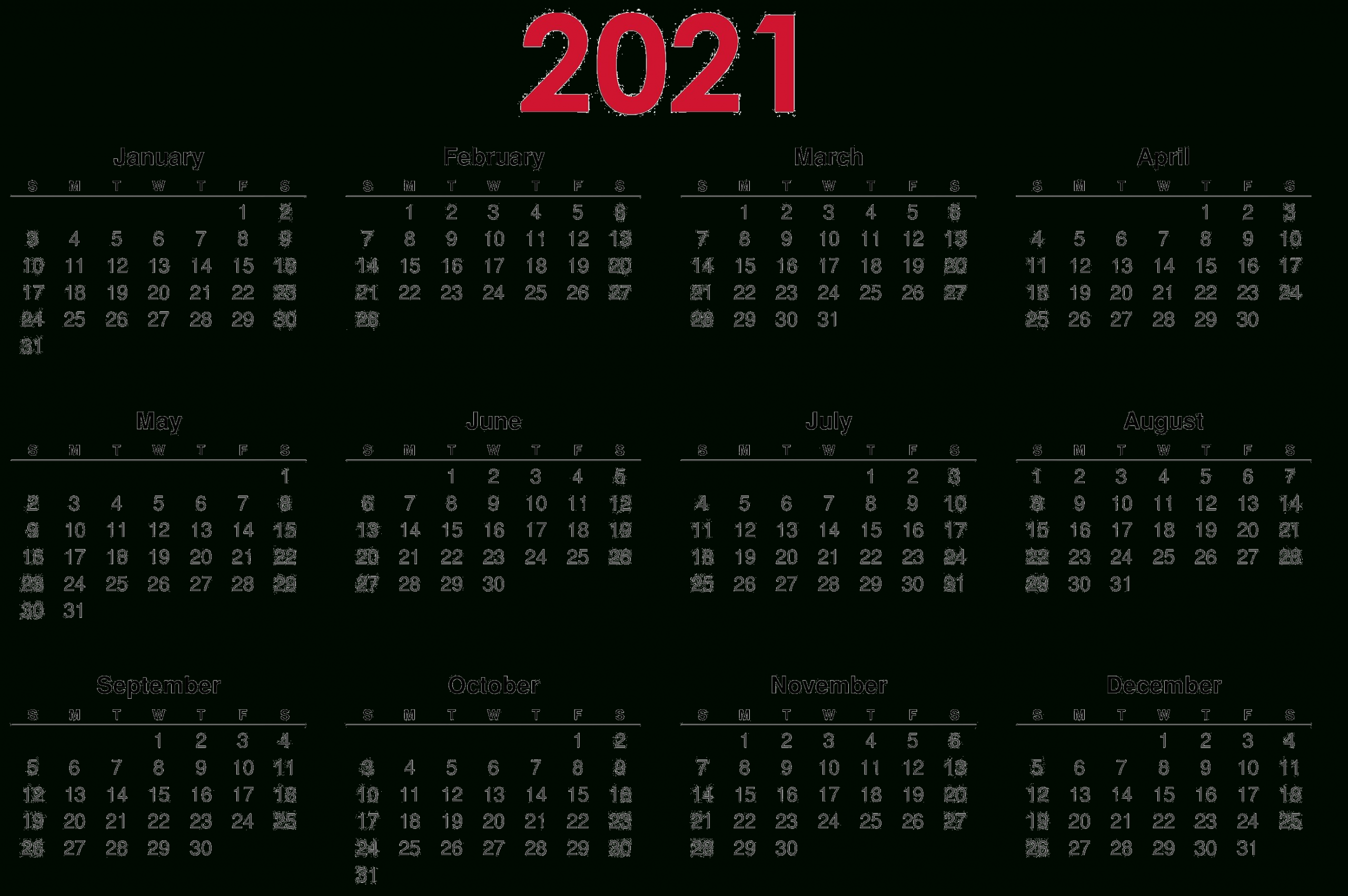 Get Free Printable 2021 Calendar Template – Printable Free