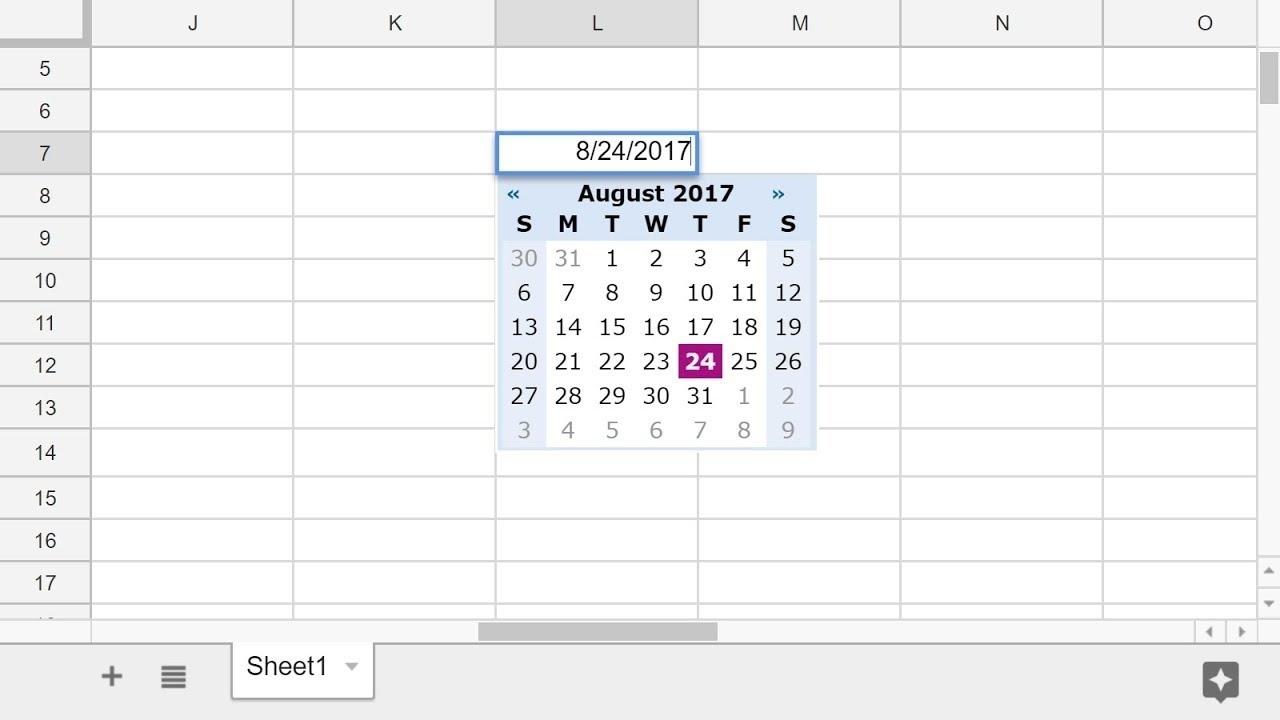 Google Sheets - Add A Pop-Up Calendar Date Picker