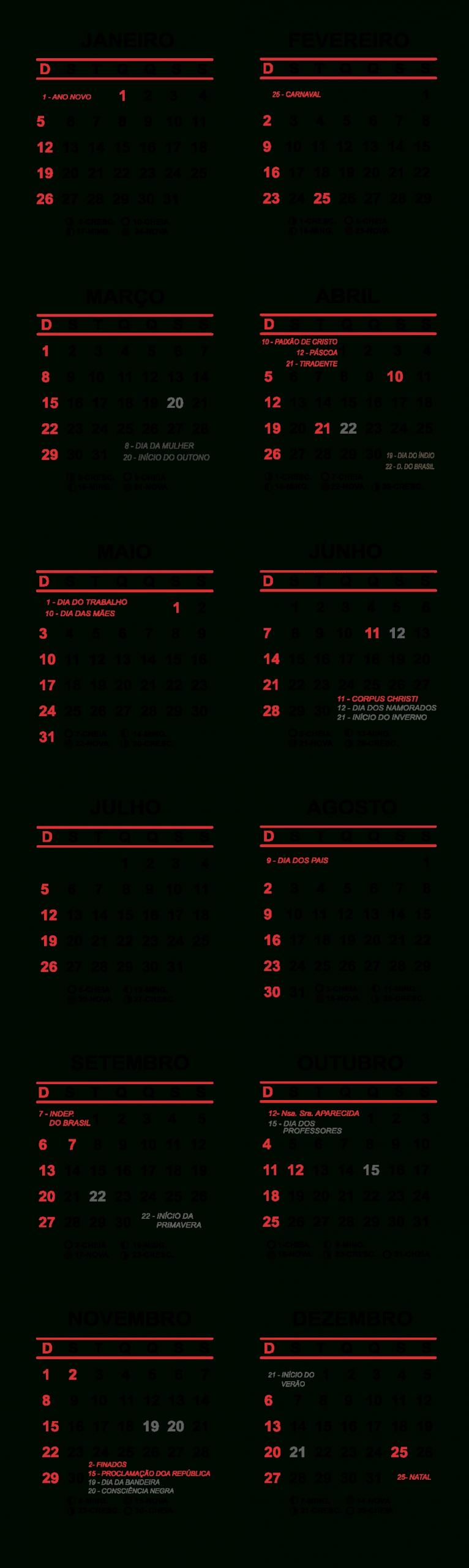 Grade Horizontal Calendário 2020 Simples | Imagem Legal