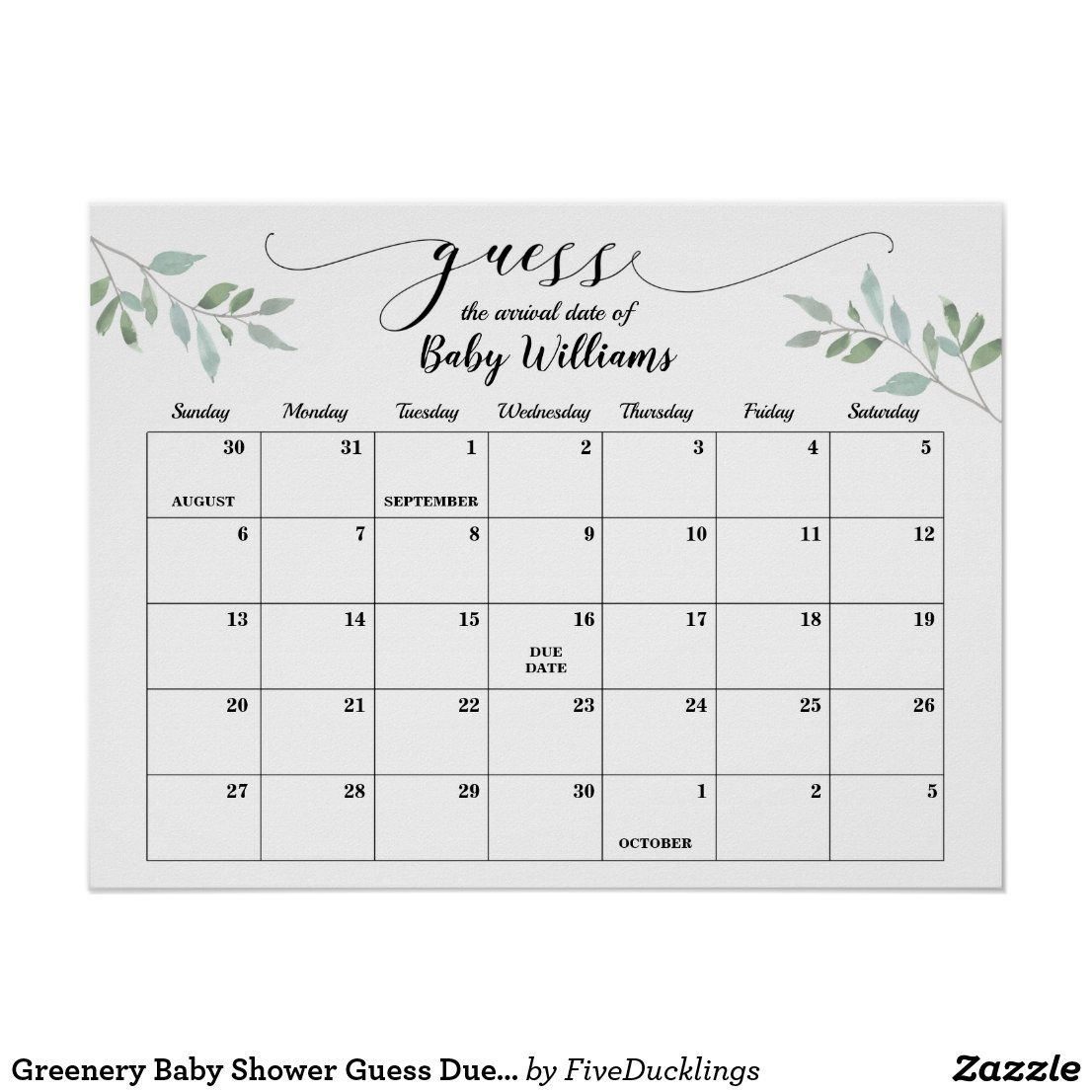 Greenery Baby Shower Guess Due Date Calendar Poster | Zazzle