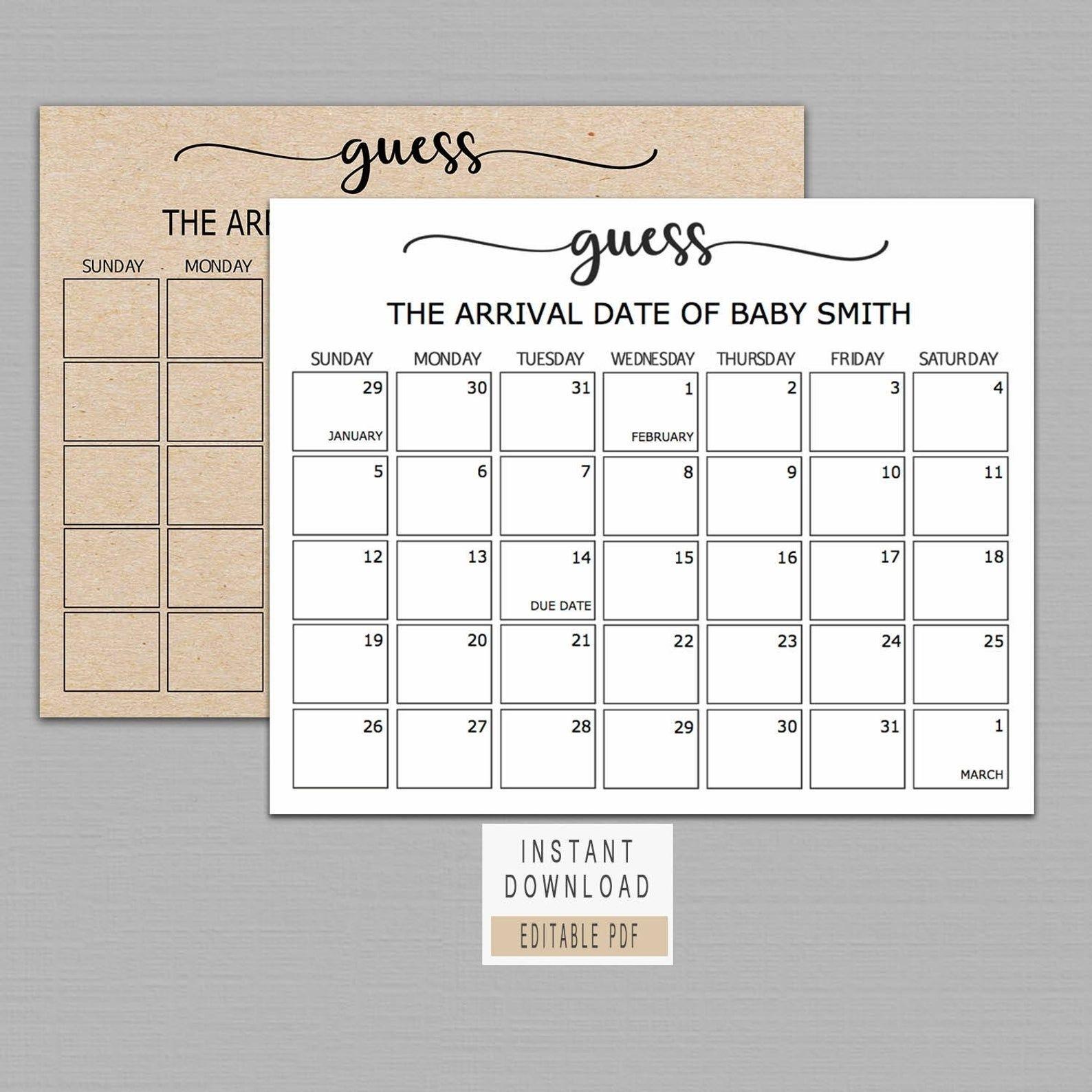 Guess Baby Birthday Calendar Baby Due Date Calendar Poster