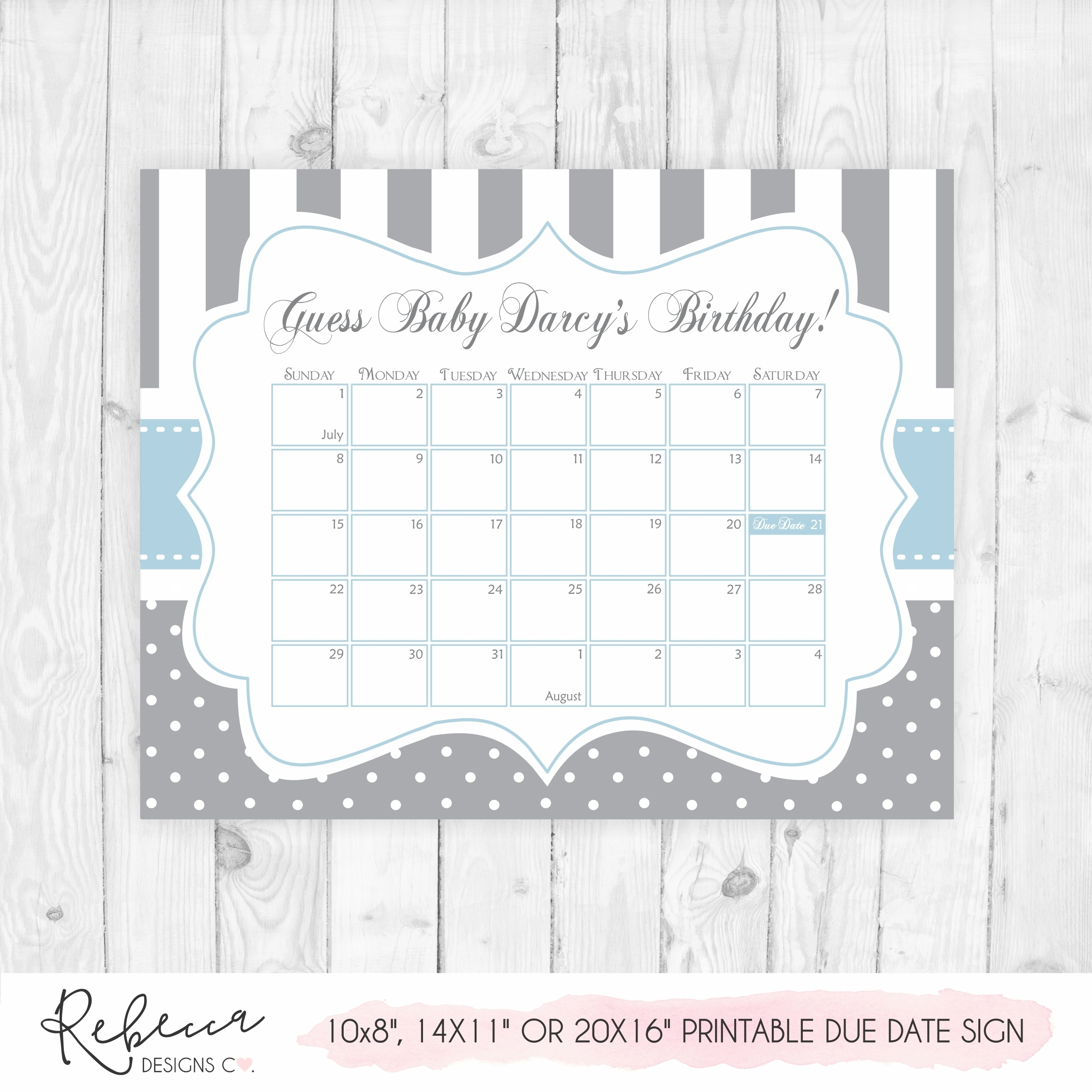 Guess The Date Game Sign • Printable Custom Design