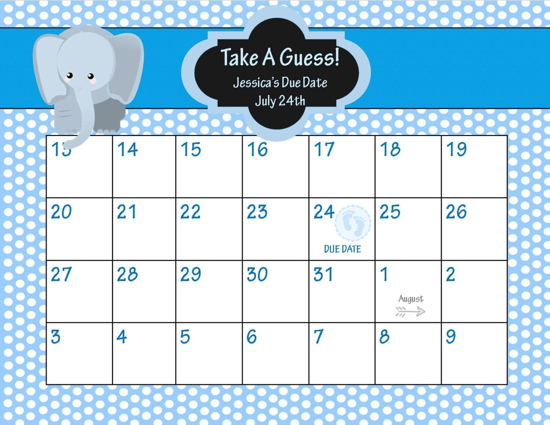 Guess+Baby+Due+Date+Calendar | Baby Due Date Calendar, Baby