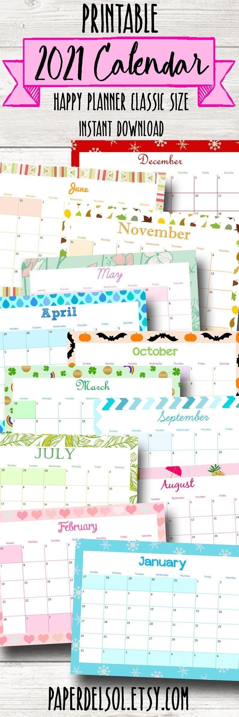 Happy Planner Printable Holiday Calendar 2021 Planner