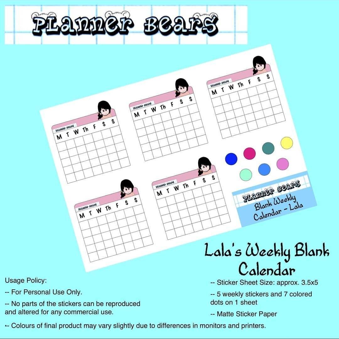 Here'S A Cute Calendar Set For Your Planners! Just Peel And