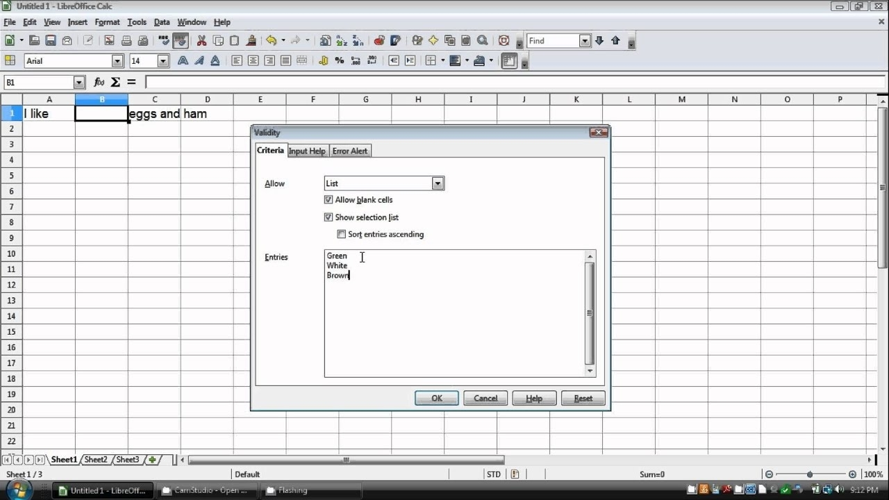 How To Make A Drop Down List In Openoffice/Libreoffice Calc
