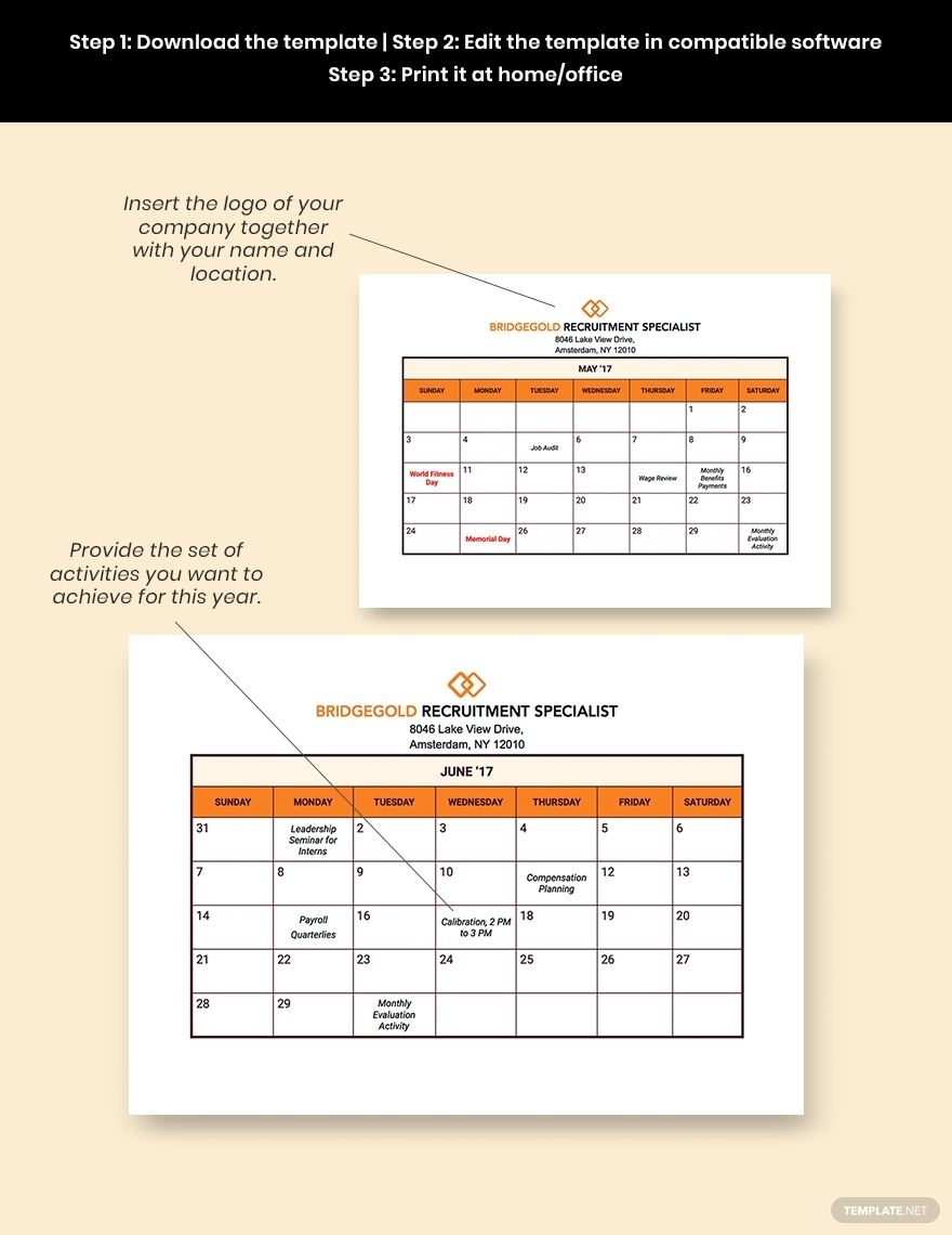 Hr Annual Planning Calendar Template - Pdf | Word | Excel