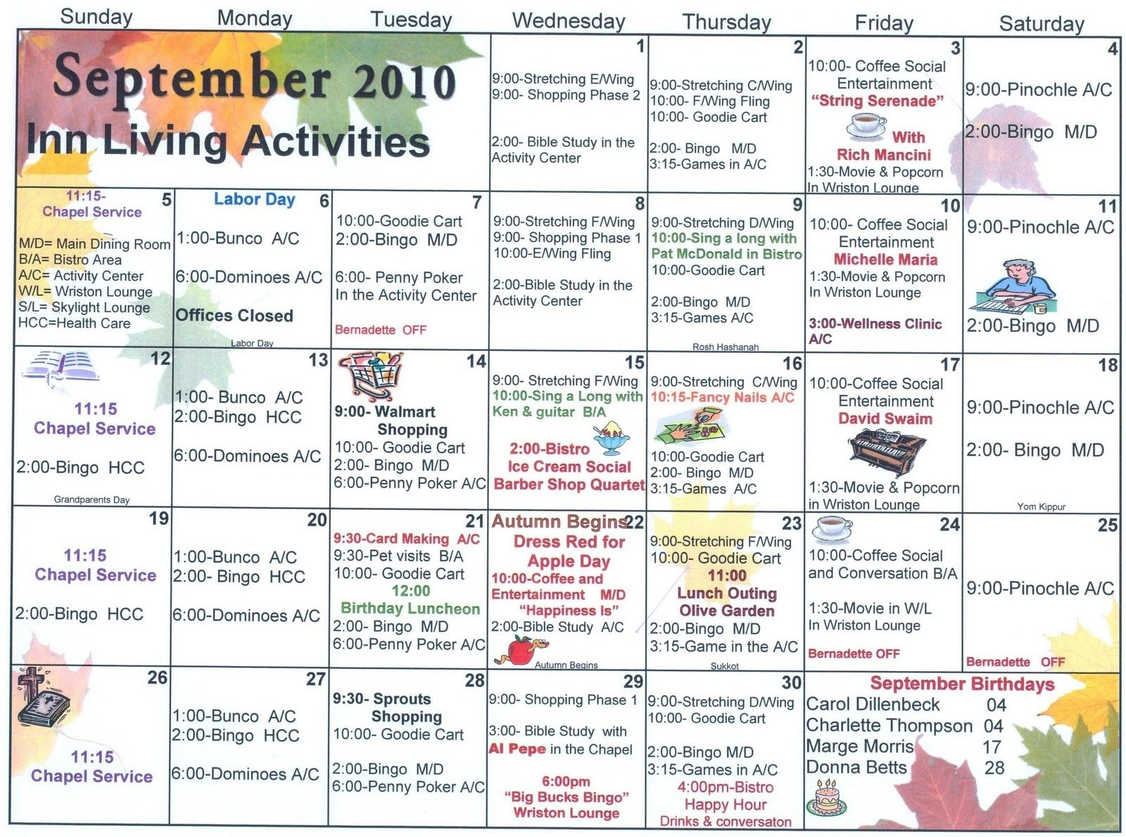 Independent And Assisted Living Activity Calendar Click On