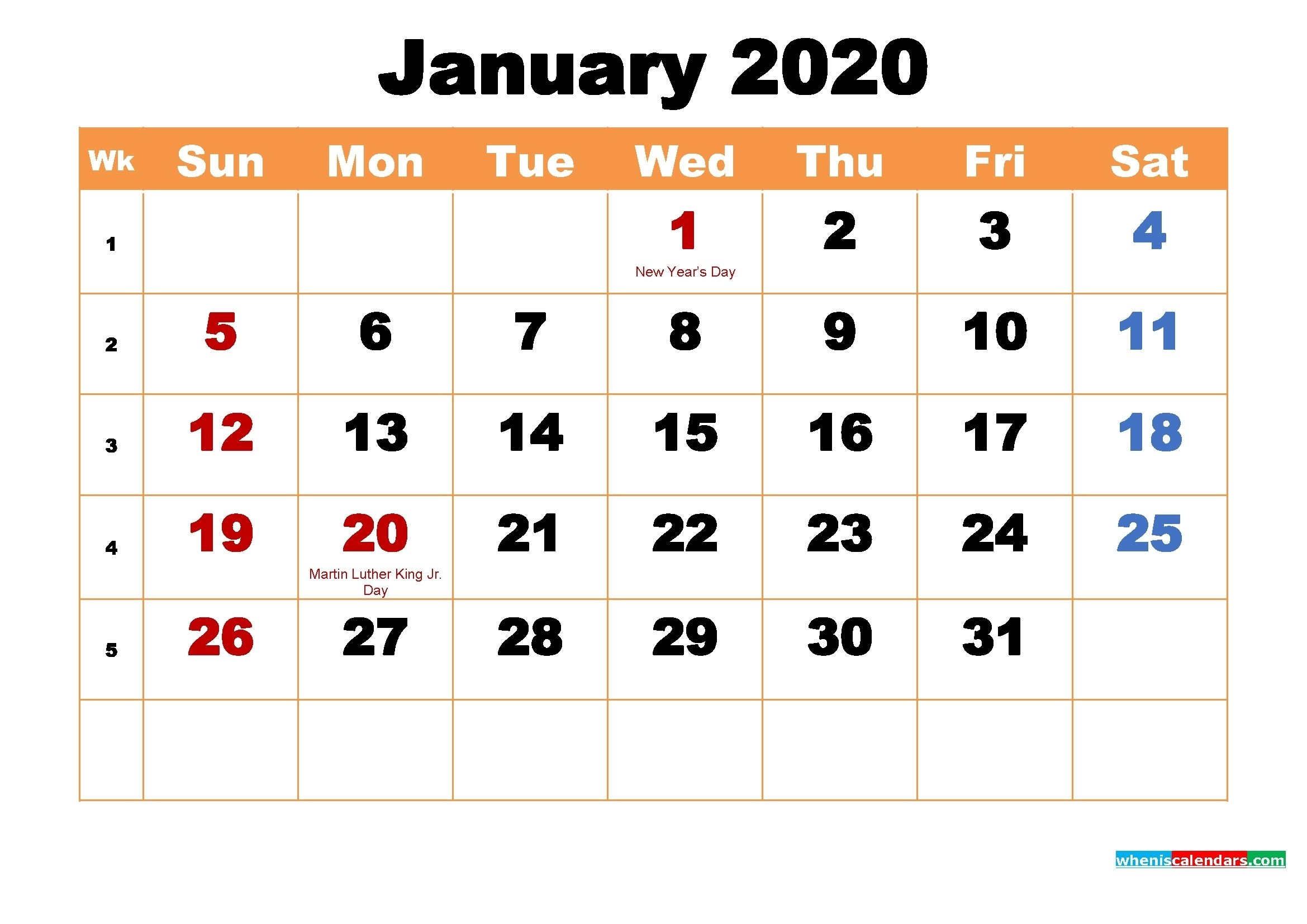 January 2020 Calendar Wallpaper High Resolution | Free In