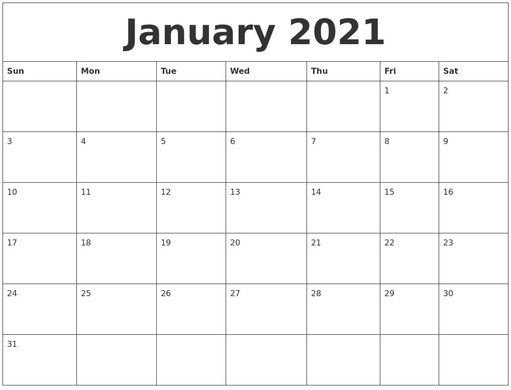 January 2021 Calendar, February 2021 Printable Calendar