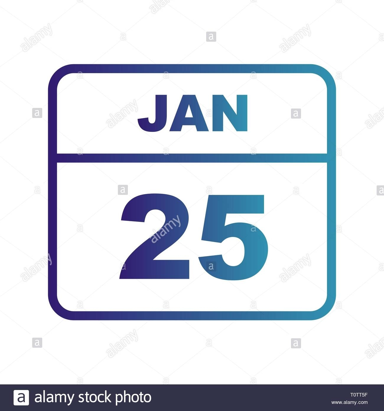 January 25Th Date On A Single Day Calendar Stock Photo - Alamy