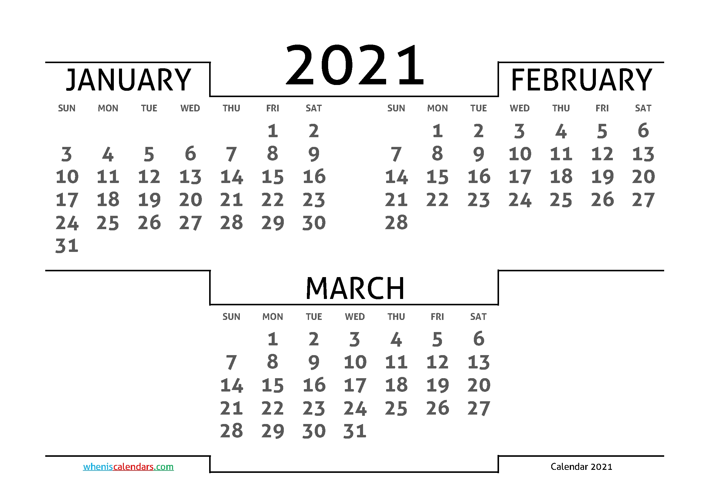 January February March 2021 Printable Calendar | 3 Month