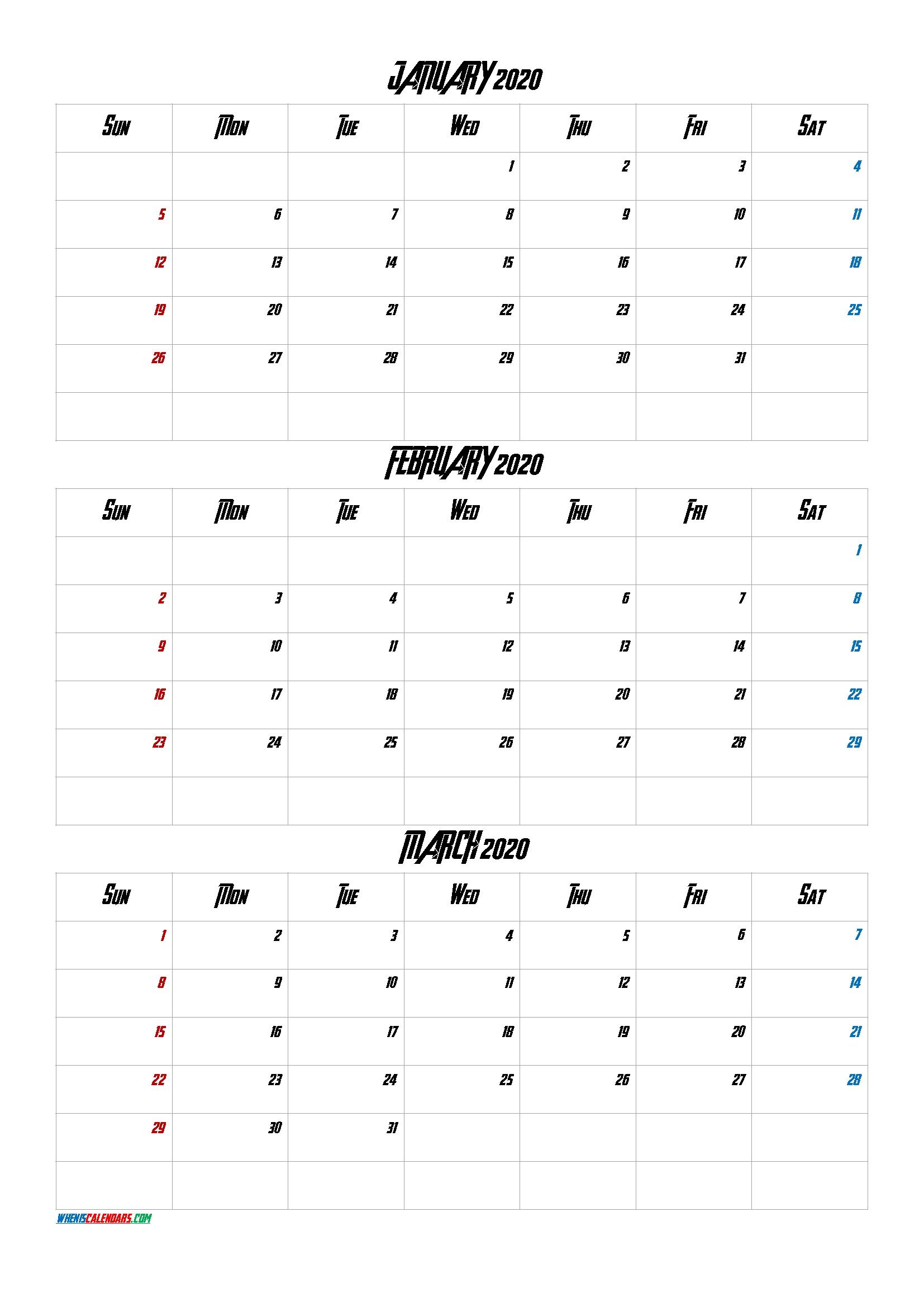 January February March 2021 Three Month Calendar Printable-21Av4
