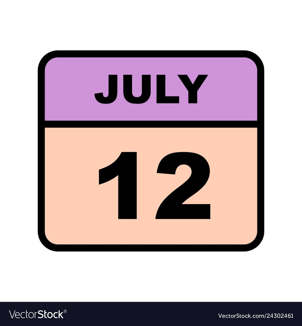 July 12Th Date On A Single Day Calendar Royalty Free Vector