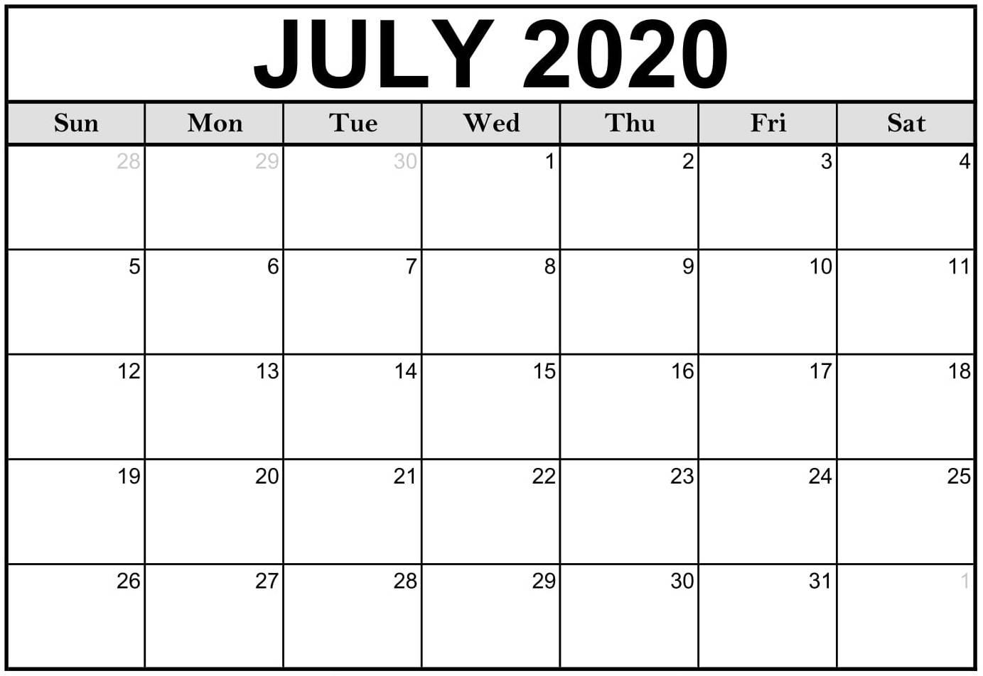 July Calendar 2020 Printable Pdf - 2019 Calendars For