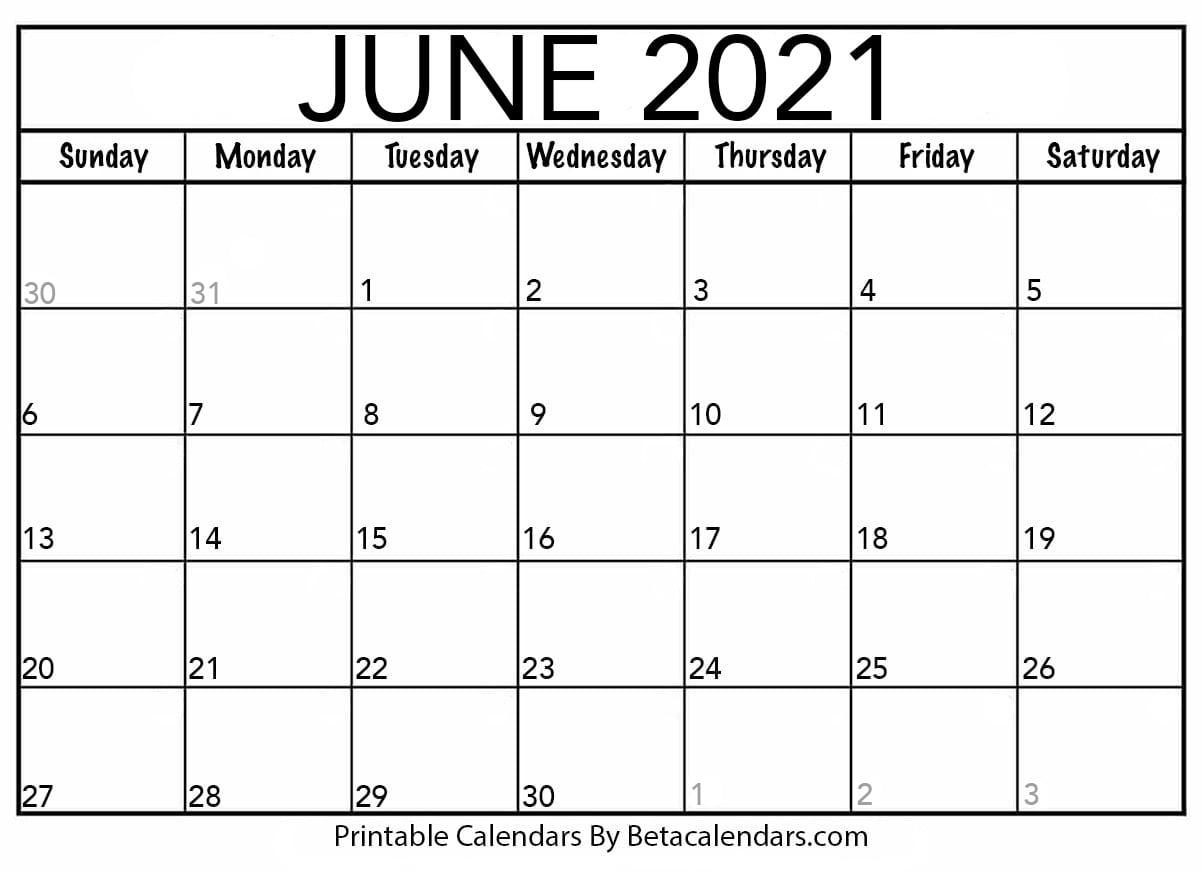 June 2021 Calendar | Blank Printable Monthly Calendars