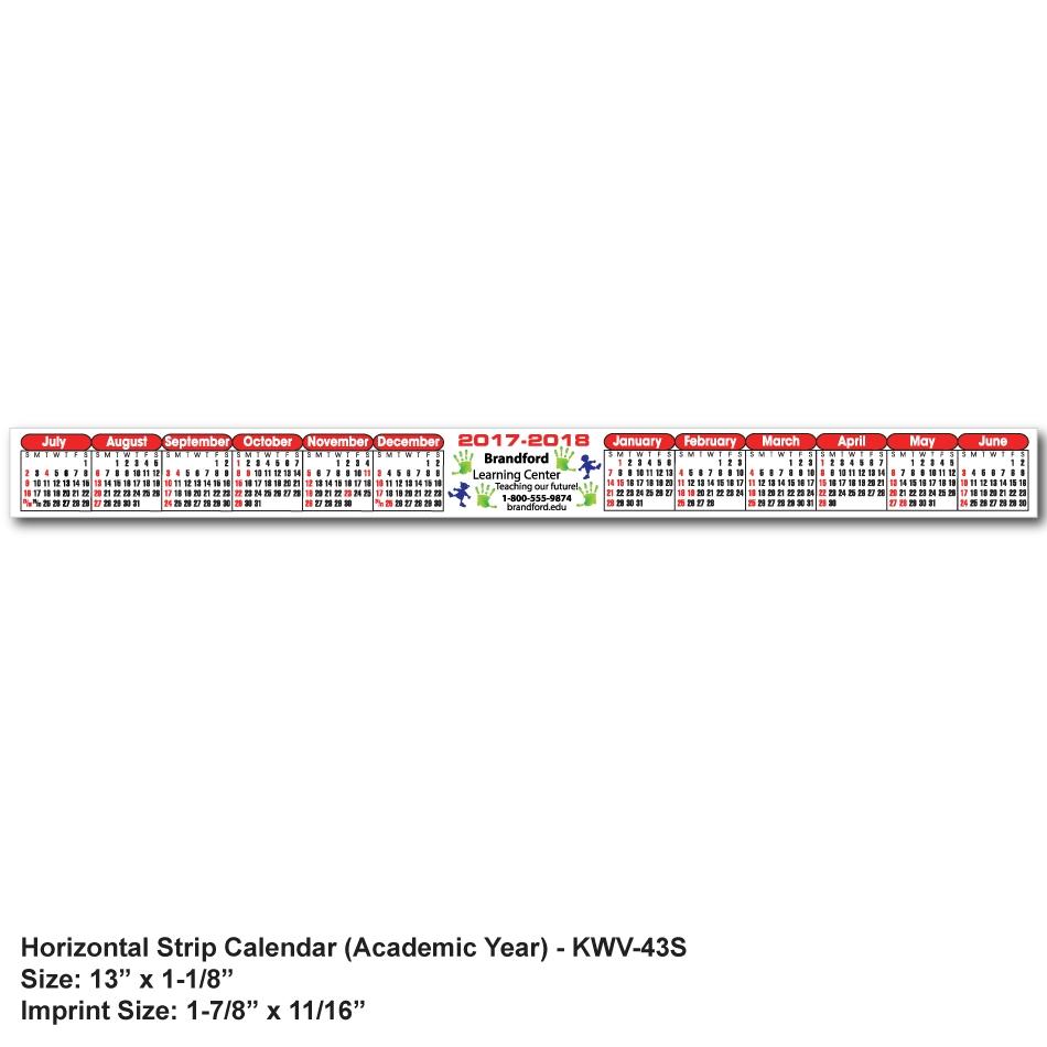 Kwv-43 Kwik-Stik® Horizontal Strip Calendar - Spot Color