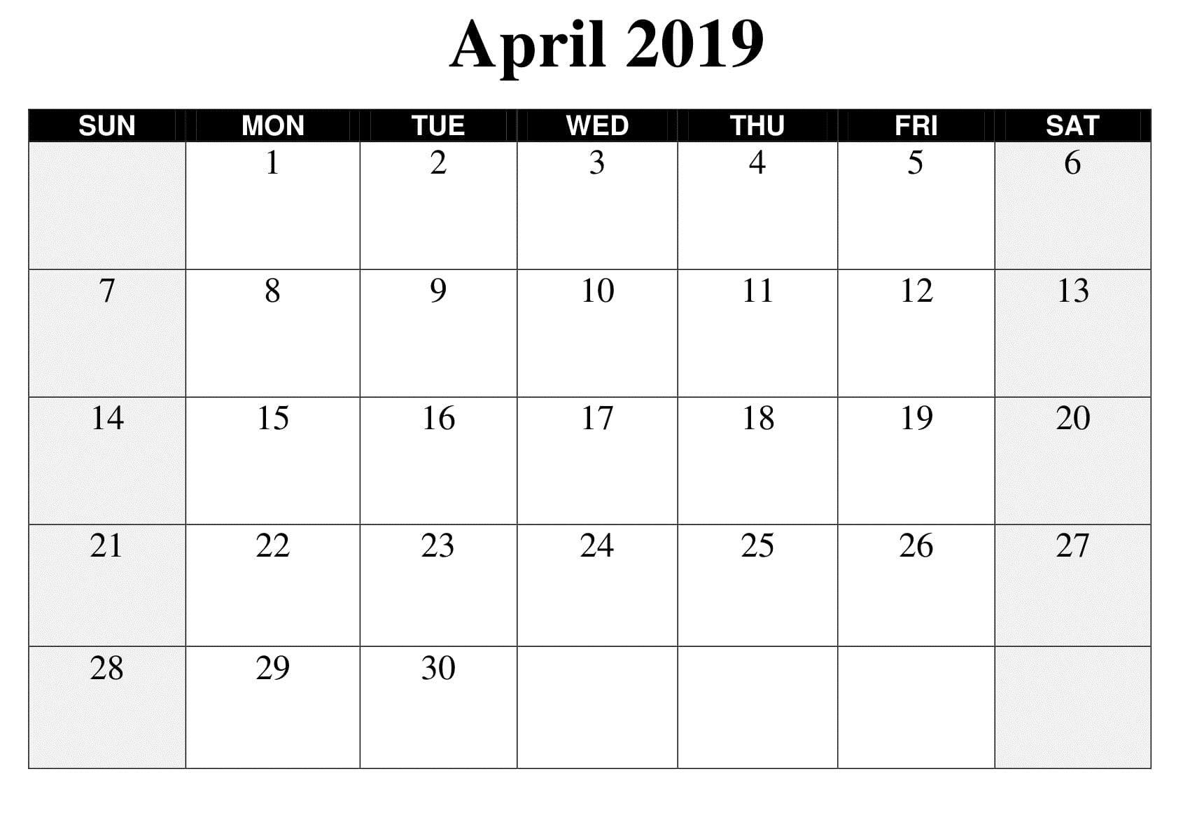 Large April 2019 Calendar Template | Printable Calendar
