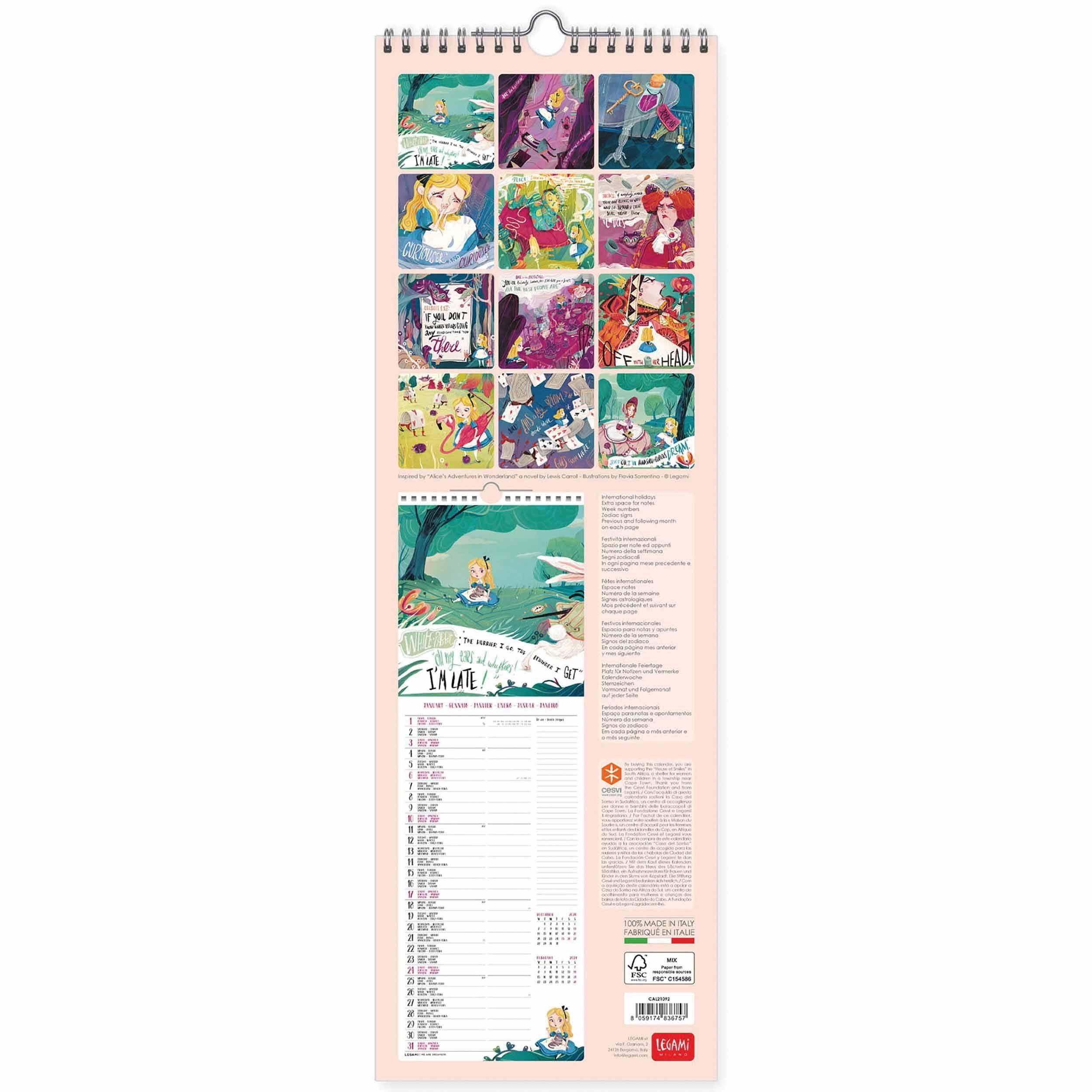 Lewis Carroll, Alice In Wonderland Deluxe Slim Calendar 2021 At Calendar  Club