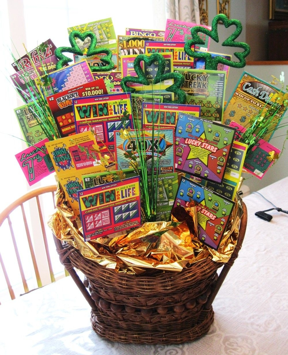 Lottery Raffle Basket | Raffle Basket, Themed Gift Baskets