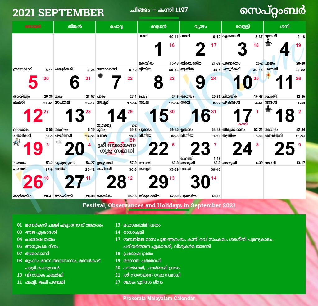 Malayalam Calendar 2021, September