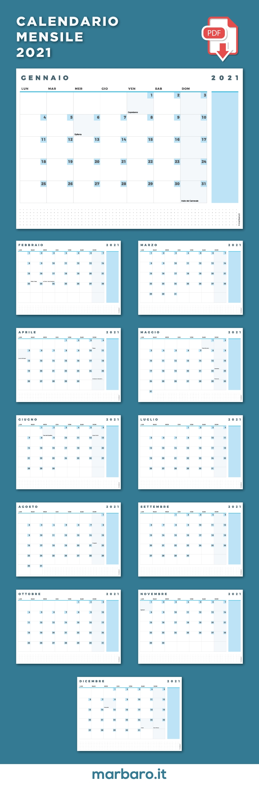 Marbaroit - Agende, Calendari, Planner Stampabili