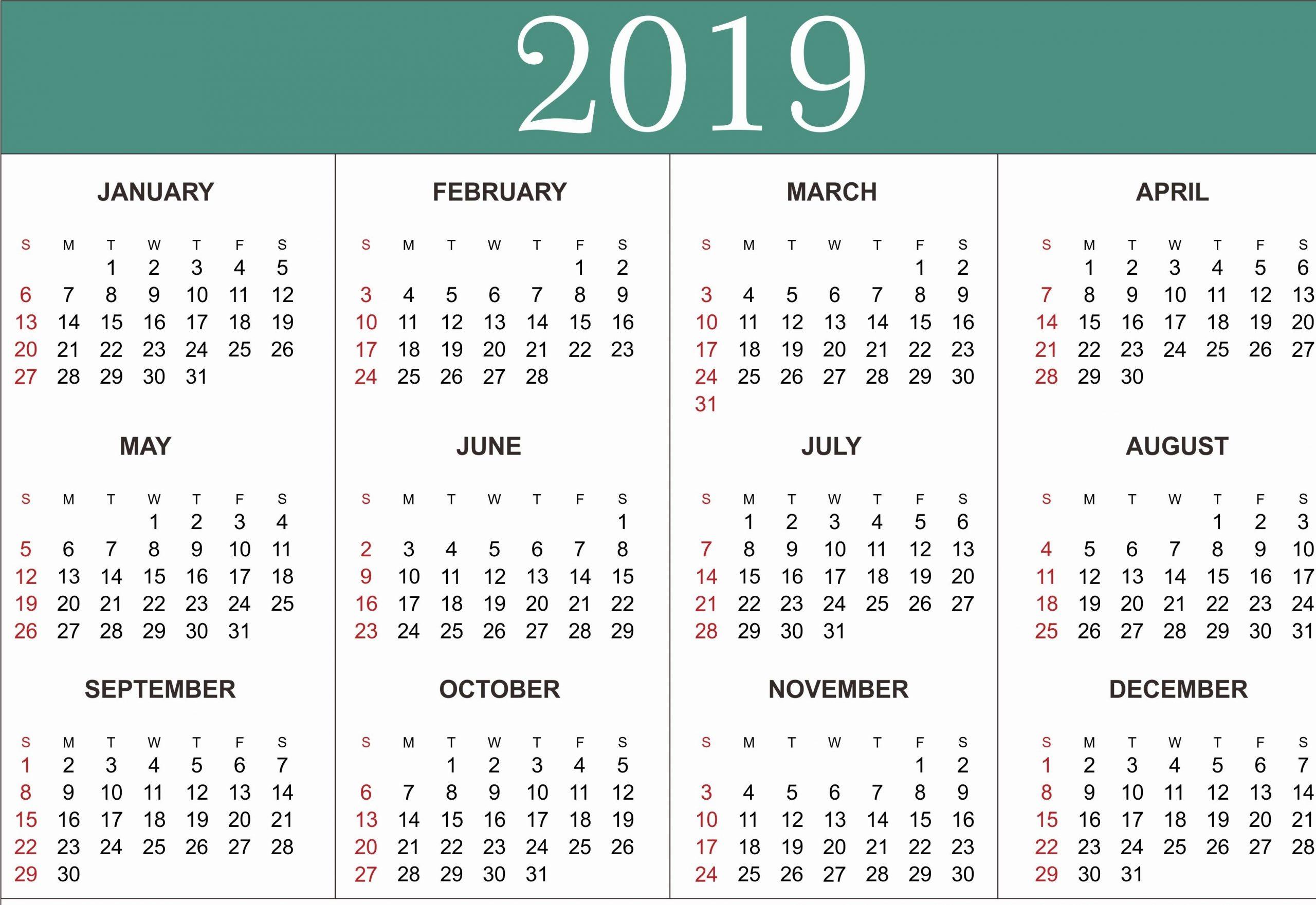 Microsoft Office Calendar Templates 2019 Elegant Free Yearly